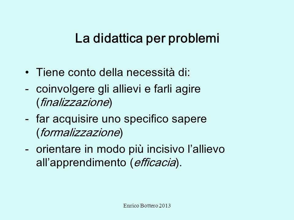 Enrico Bottero 2013 La didattica per problemi Tiene conto della necessità di: -coinvolgere gli allievi e farli agire (finalizzazione) -far acquisire u