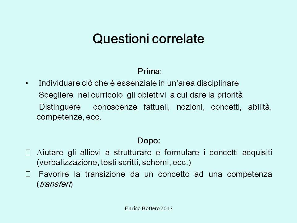Enrico Bottero 2013 Questioni correlate Prima : I ndividuare ciò che è essenziale in unarea disciplinare Scegliere nel curricolo gli obiettivi a cui d