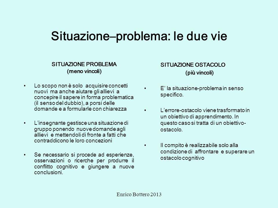 Enrico Bottero 2013 Situazione–problema: le due vie SITUAZIONE PROBLEMA (meno vincoli) Lo scopo non è solo acquisire concetti nuovi ma anche aiutare g