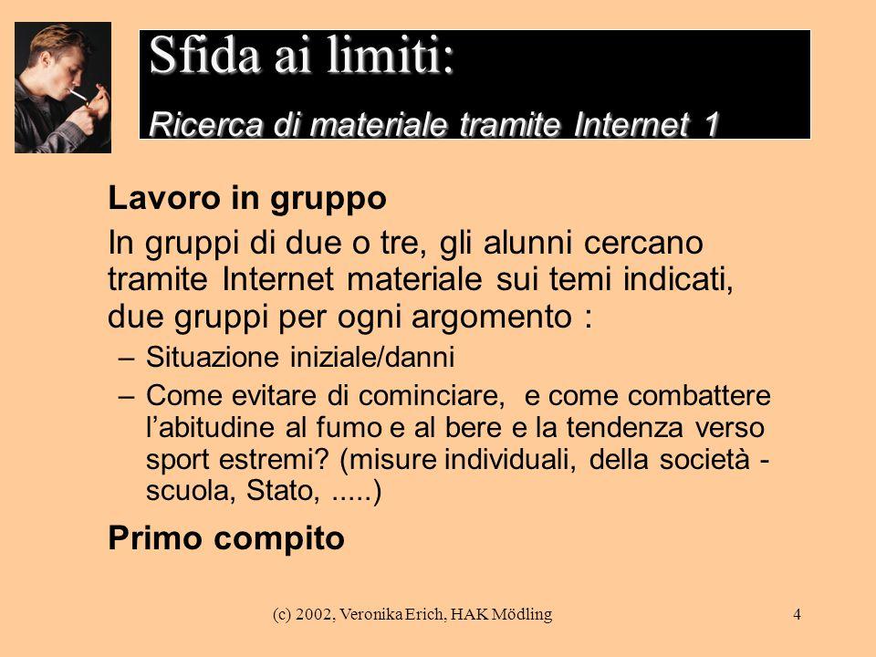 (c) 2002, Veronika Erich, HAK Mödling4 Sfida ai limiti: Ricerca di materiale tramite Internet 1 Lavoro in gruppo In gruppi di due o tre, gli alunni ce