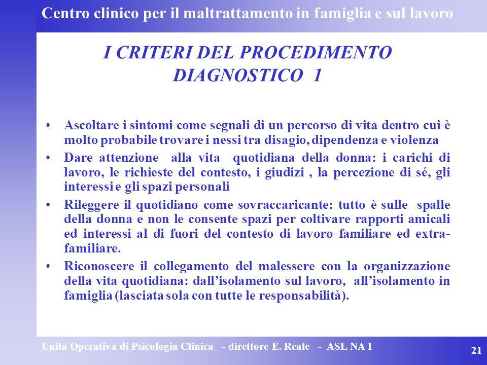 Unità Operativa di Psicologia Clinica - direttore E.