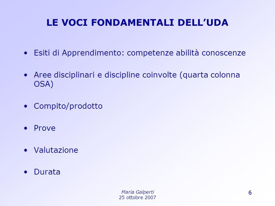 Maria Galperti 25 ottobre 2007 7 LA MAPPA DELLE UDA IDTitoloArgomen to/compi to/ prodotto Esiti di apprendimentoProveValuta zione Tempi Compe tenze AbilitàConoscenze