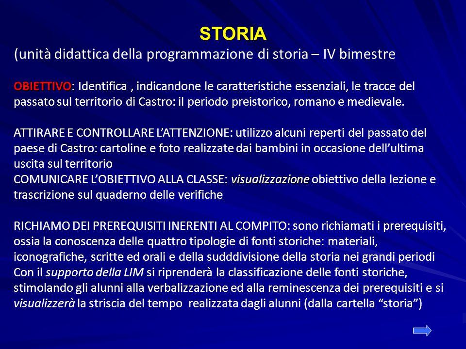 STORIA (unità didattica della programmazione di storia – IV bimestre OBIETTIVO OBIETTIVO: Identifica, indicandone le caratteristiche essenziali, le tr