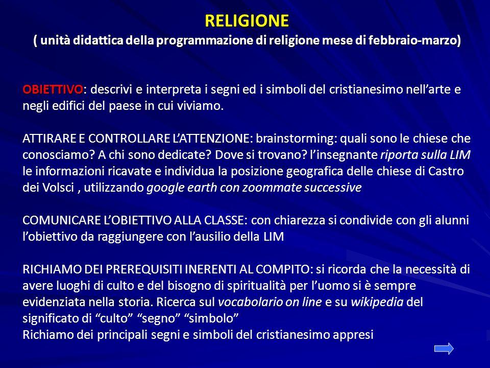 RELIGIONE ( unità didattica della programmazione di religione mese di febbraio-marzo) OBIETTIVO OBIETTIVO: descrivi e interpreta i segni ed i simboli