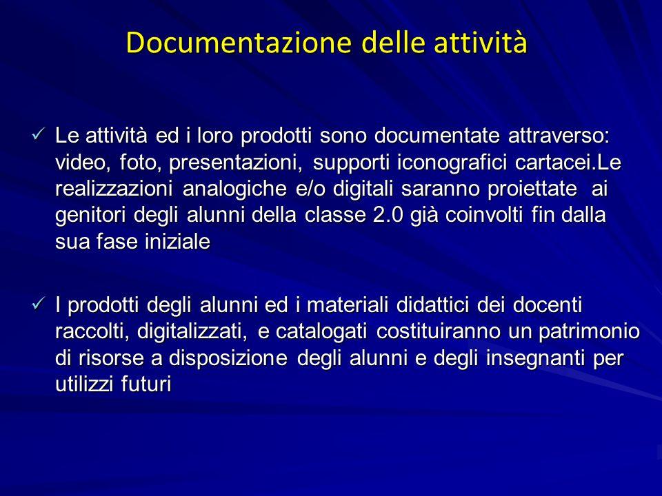 Documentazione delle attività Le attività ed i loro prodotti sono documentate attraverso: video, foto, presentazioni, supporti iconografici cartacei.L