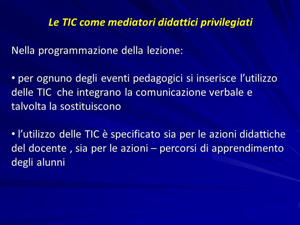 Le TIC come mediatori didattici privilegiati Nella programmazione della lezione: per ognuno degli eventi pedagogici si inserisce lutilizzo delle TIC c