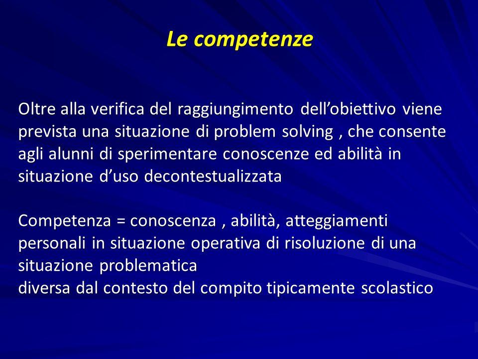 Le competenze Oltre alla verifica del raggiungimento dellobiettivo viene prevista una situazione di problem solving, che consente agli alunni di speri