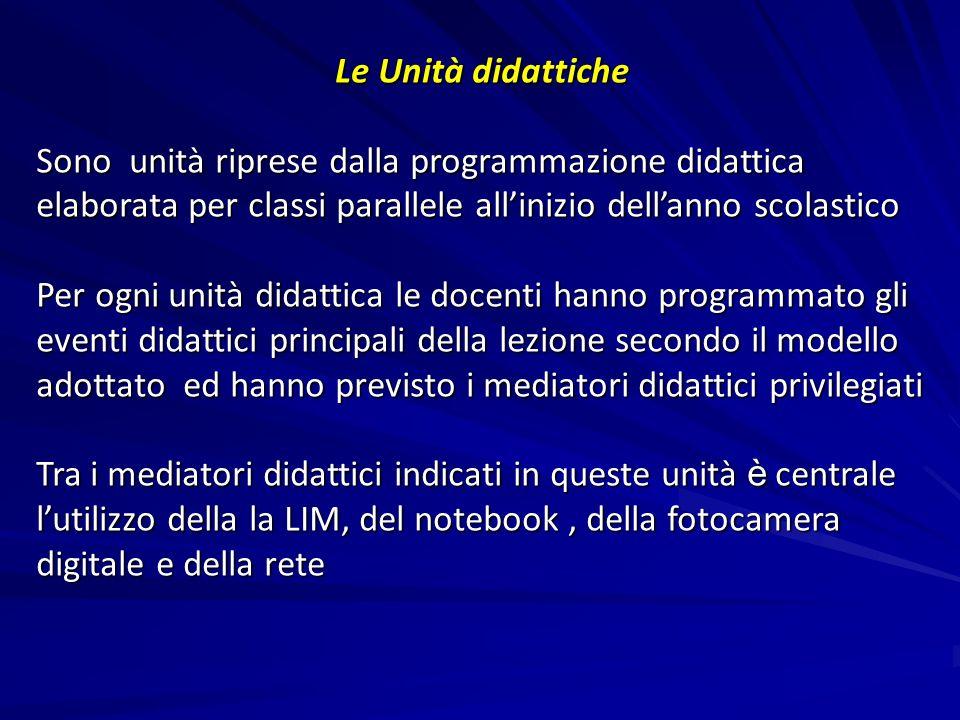 Le Unità didattiche Sono unità riprese dalla programmazione didattica elaborata per classi parallele allinizio dellanno scolastico Per ogni unità dida