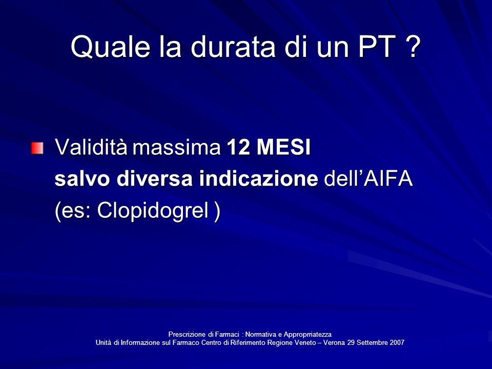 Quale la durata di un PT ? Validità massima 12 MESI Validità massima 12 MESI salvo diversa indicazione dellAIFA salvo diversa indicazione dellAIFA (es
