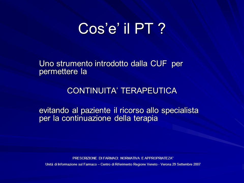 Cose il PT ? Uno strumento introdotto dalla CUF per permettere la CONTINUITA TERAPEUTICA evitando al paziente il ricorso allo specialista per la conti