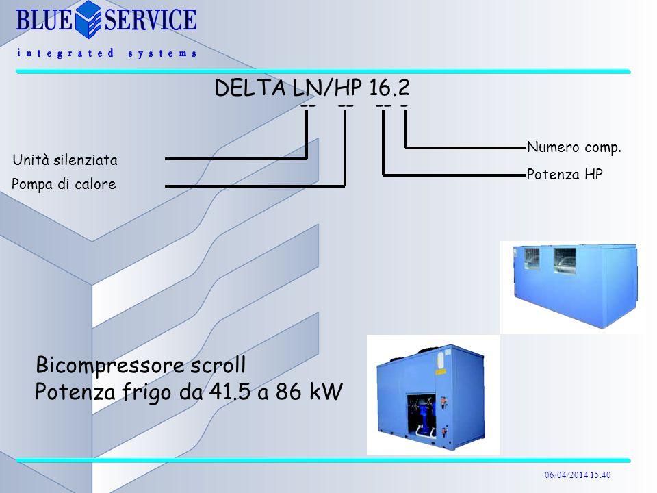 06/04/2014 15.40 Bicompressore scroll Potenza frigo da 41.5 a 86 kW DELTA LN/HP 16.2 -- -- -- - Unità silenziata Numero comp. Potenza HP Pompa di calo