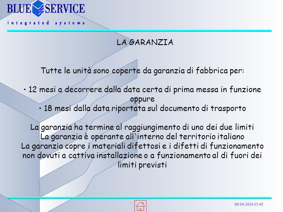 06/04/2014 15.40 LA GARANZIA Tutte le unità sono coperte da garanzia di fabbrica per: 12 mesi a decorrere dalla data certa di prima messa in funzione