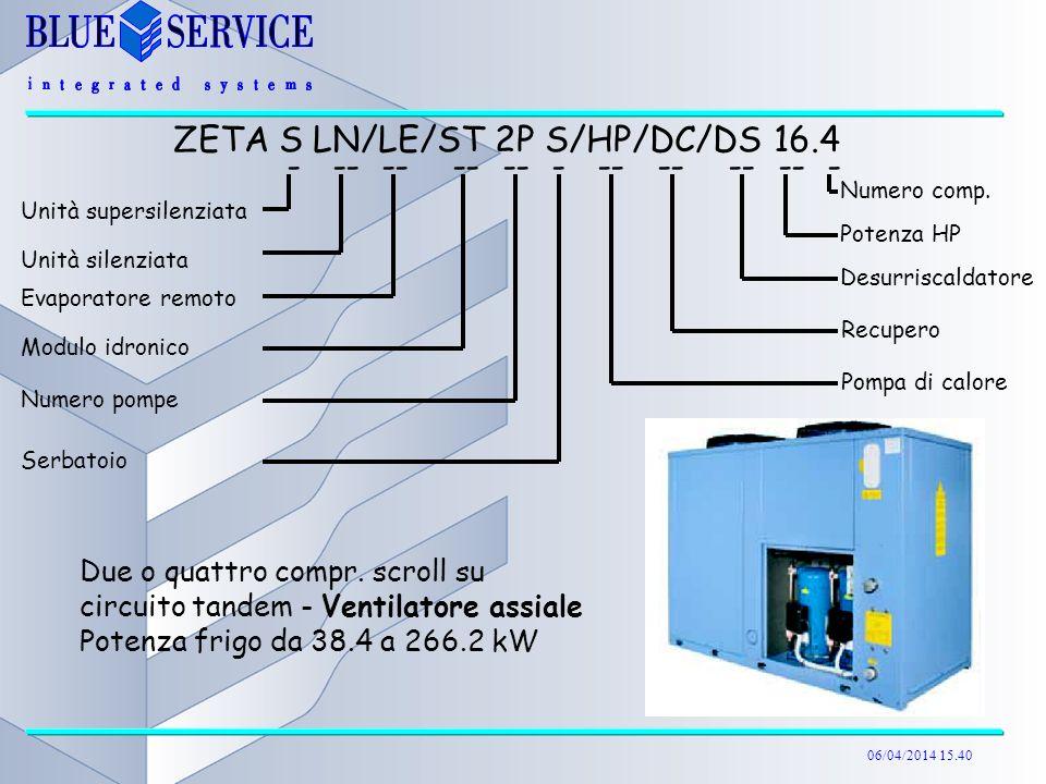 06/04/2014 15.40 Due o quattro compr. scroll su circuito tandem - Ventilatore assiale Potenza frigo da 38.4 a 266.2 kW ZETA S LN/LE/ST 2P S/HP/DC/DS 1