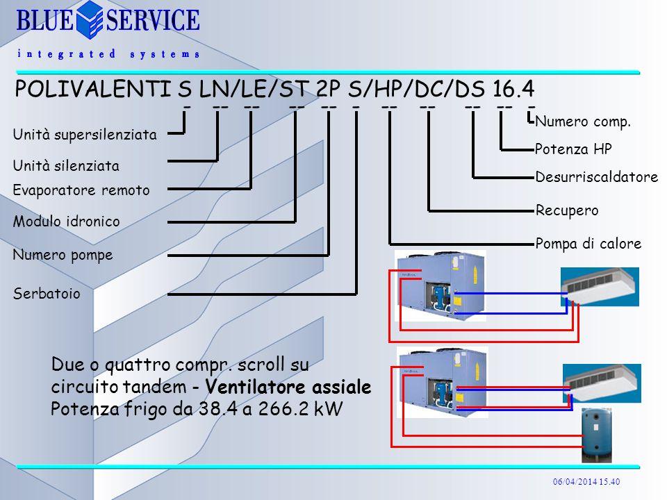 06/04/2014 15.40 Due o quattro compr. scroll su circuito tandem - Ventilatore assiale Potenza frigo da 38.4 a 266.2 kW POLIVALENTI S LN/LE/ST 2P S/HP/
