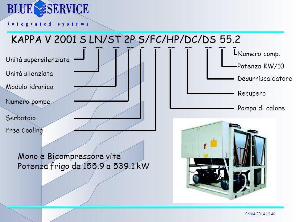 06/04/2014 15.40 Mono e Bicompressore vite Potenza frigo da 155.9 a 539.1 kW KAPPA V 2001 S LN/ST 2P S/FC/HP/DC/DS 55.2 - -- -- -- - -- -- -- -- -- -