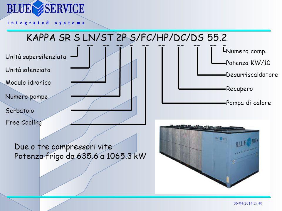 06/04/2014 15.40 Due o tre compressori vite Potenza frigo da 635.6 a 1065.3 kW KAPPA SR S LN/ST 2P S/FC/HP/DC/DS 55.2 - -- -- -- - -- -- -- -- -- - Un