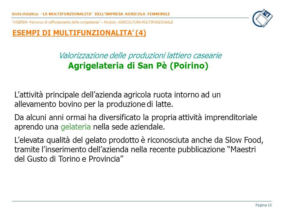 Pagina 10 Valorizzazione delle produzioni lattiero casearie Agrigelateria di San Pè (Poirino) Lattività principale dellazienda agricola ruota intorno