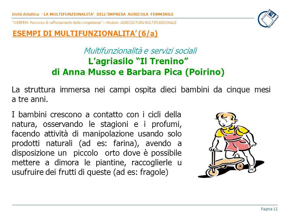 Pagina 12 Multifunzionalità e servizi sociali Lagriasilo Il Trenino di Anna Musso e Barbara Pica (Poirino) La struttura immersa nei campi ospita dieci