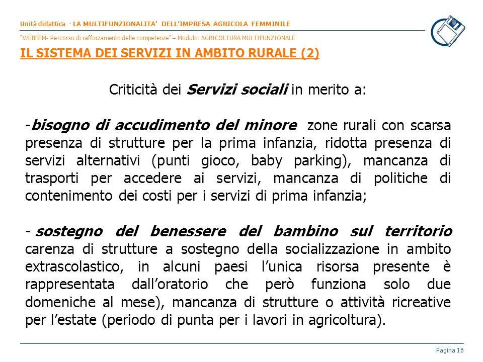 Pagina 16 Criticità dei Servizi sociali in merito a: -bisogno di accudimento del minore zone rurali con scarsa presenza di strutture per la prima infa