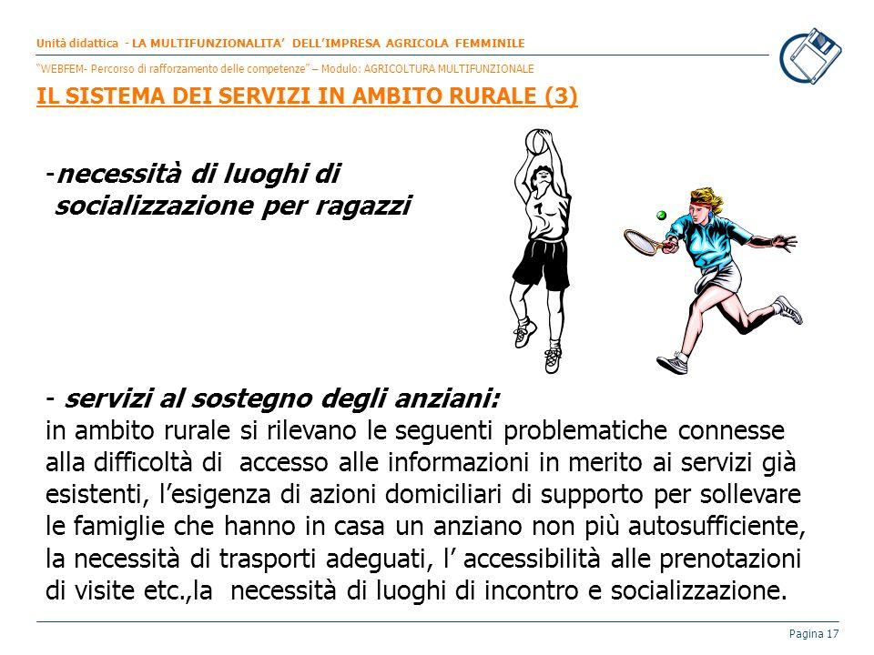 Pagina 17 -necessità di luoghi di socializzazione per ragazzi - servizi al sostegno degli anziani: in ambito rurale si rilevano le seguenti problemati