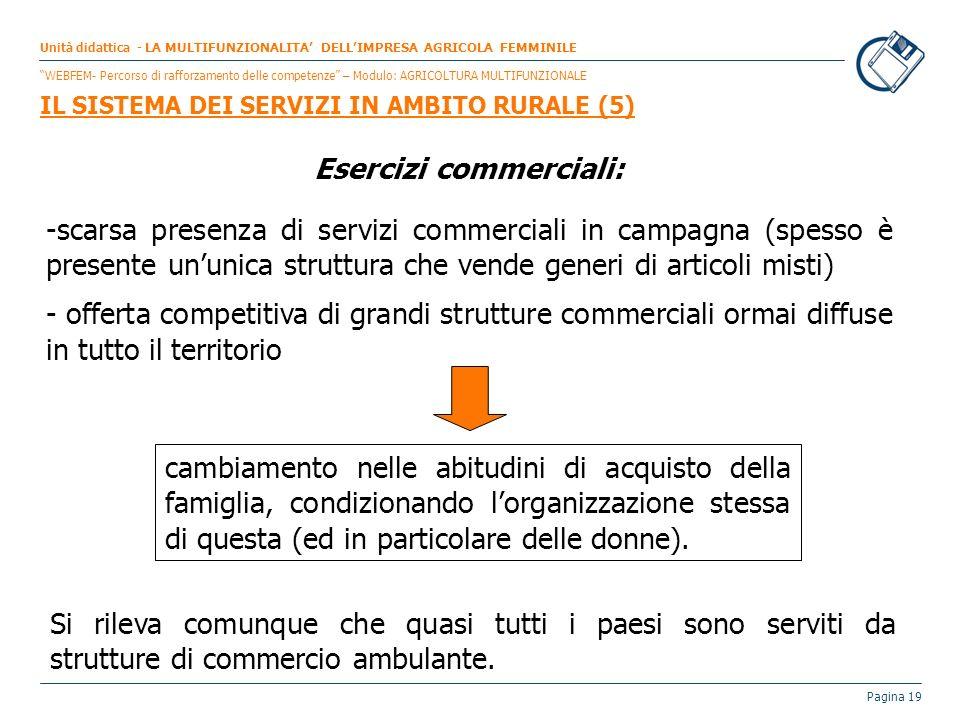 Pagina 19 Esercizi commerciali: -scarsa presenza di servizi commerciali in campagna (spesso è presente ununica struttura che vende generi di articoli