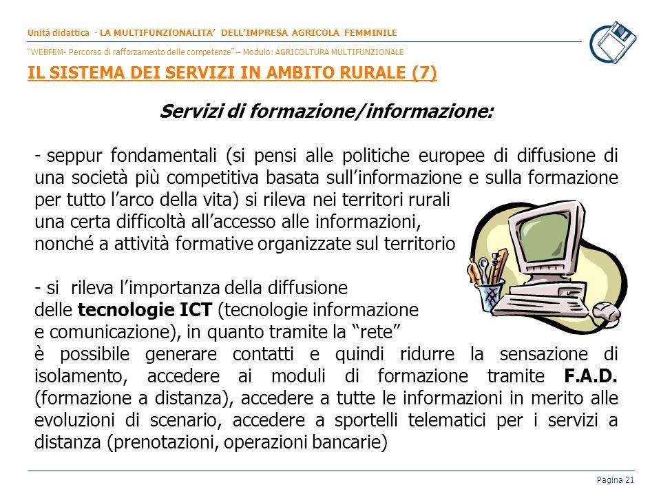 Pagina 21 Servizi di formazione/informazione: - seppur fondamentali (si pensi alle politiche europee di diffusione di una società più competitiva basa