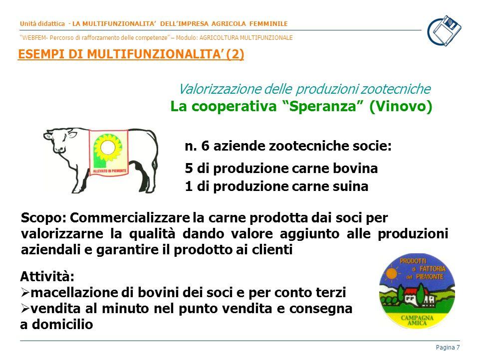 Pagina 7 Valorizzazione delle produzioni zootecniche La cooperativa Speranza (Vinovo) n. 6 aziende zootecniche socie: 5 di produzione carne bovina 1 d