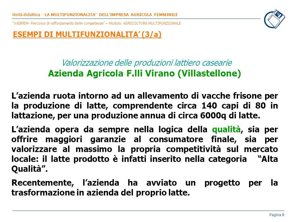 Pagina 8 Valorizzazione delle produzioni lattiero casearie Azienda Agricola F.lli Virano (Villastellone) Lazienda ruota intorno ad un allevamento di v