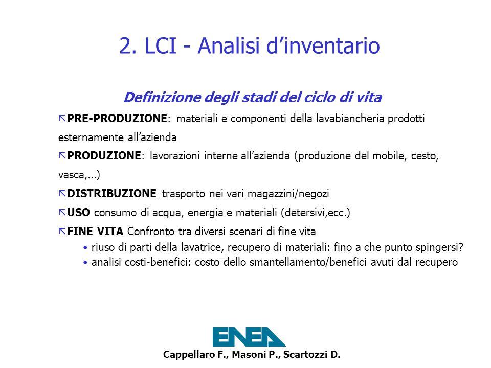Cappellaro F., Masoni P., Scartozzi D.2. LCI - Analisi dinventario per lo STADIO PRODUZIONE 1.