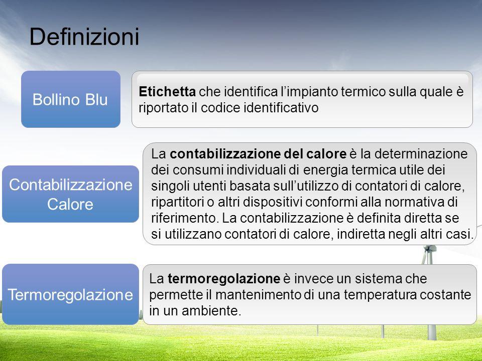 Definizioni Bollino Blu Etichetta che identifica limpianto termico sulla quale è riportato il codice identificativo Contabilizzazione Calore La contab