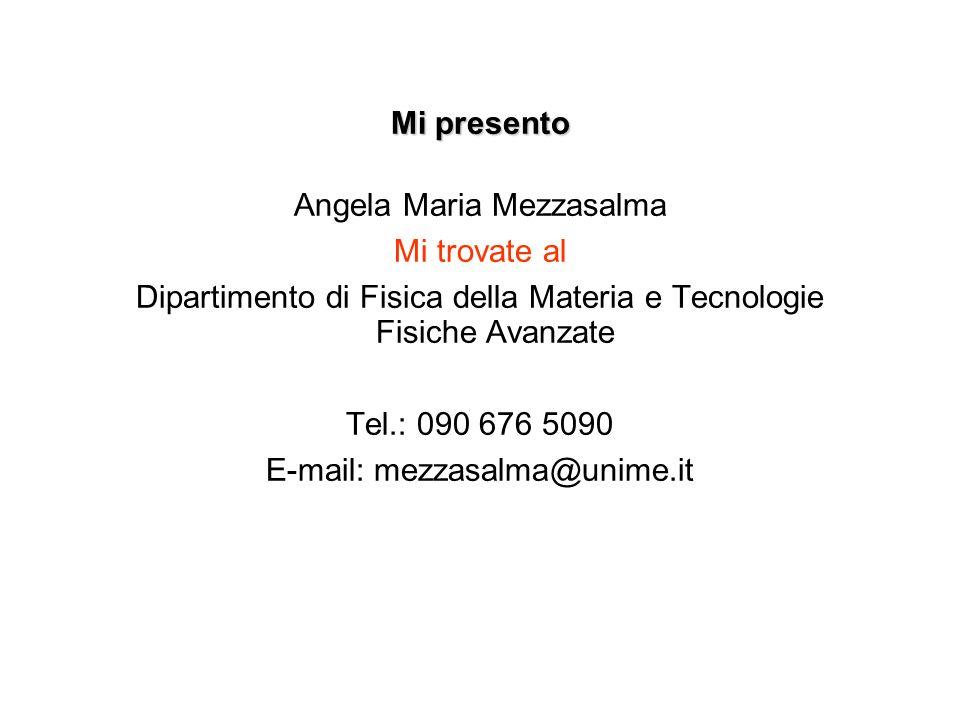 Mi presento Angela Maria Mezzasalma Mi trovate al Dipartimento di Fisica della Materia e Tecnologie Fisiche Avanzate Tel.: 090 676 5090 E-mail: mezzas