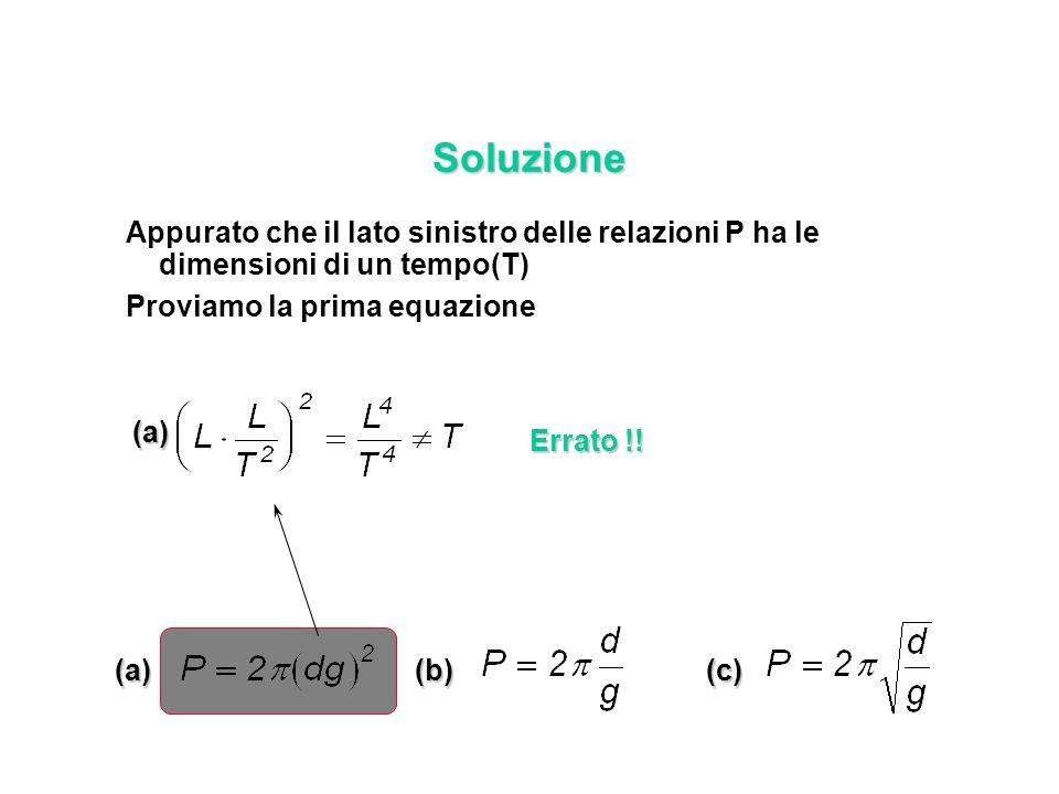 Soluzione Appurato che il lato sinistro delle relazioni P ha le dimensioni di un tempo(T) Proviamo la prima equazione (a)(b)(c) (a) Errato !!