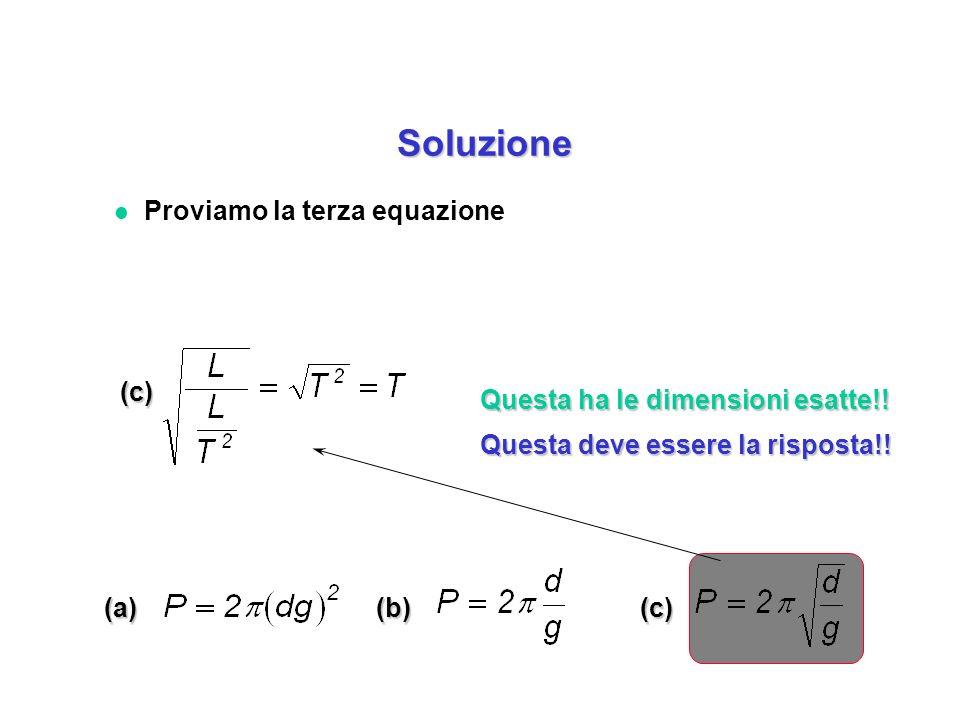 (a)(b)(c) (c) Questa ha le dimensioni esatte!! Questa deve essere la risposta!! l Proviamo la terza equazione Soluzione Soluzione