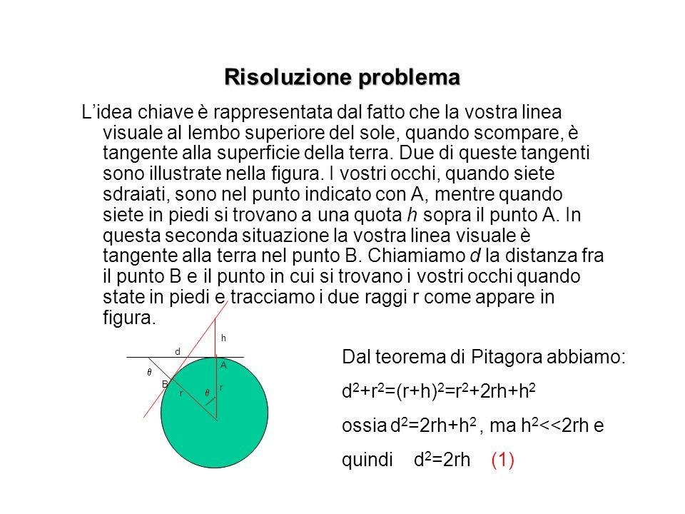Risoluzione problema Lidea chiave è rappresentata dal fatto che la vostra linea visuale al lembo superiore del sole, quando scompare, è tangente alla