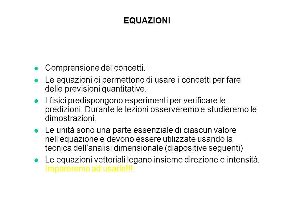 EQUAZIONI l Comprensione dei concetti. l Le equazioni ci permettono di usare i concetti per fare delle previsioni quantitative. l I fisici predispongo