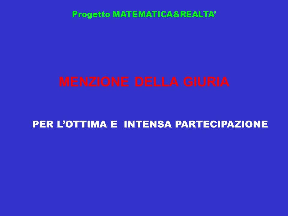 Progetto MATEMATICA&REALTA MENZIONE DELLA GIURIA PER LOTTIMA E INTENSA PARTECIPAZIONE