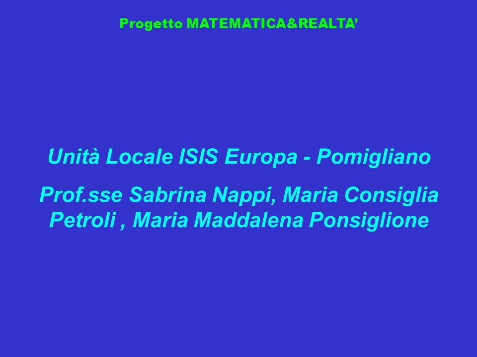 Progetto MATEMATICA&REALTA Unità Locale ISIS Europa - Pomigliano Prof.sse Sabrina Nappi, Maria Consiglia Petroli, Maria Maddalena Ponsiglione