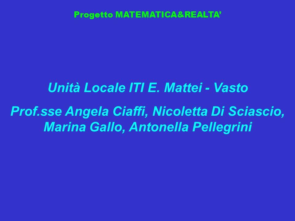 Progetto MATEMATICA&REALTA Unità Locale ITI E. Mattei - Vasto Prof.sse Angela Ciaffi, Nicoletta Di Sciascio, Marina Gallo, Antonella Pellegrini