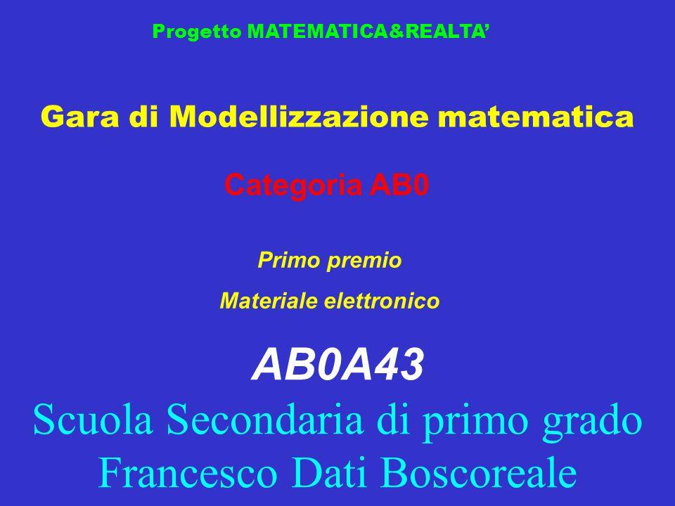 Gara di Modellizzazione matematica Progetto MATEMATICA&REALTA Categoria AB0 Primo premio Materiale elettronico AB0A43 Scuola Secondaria di primo grado