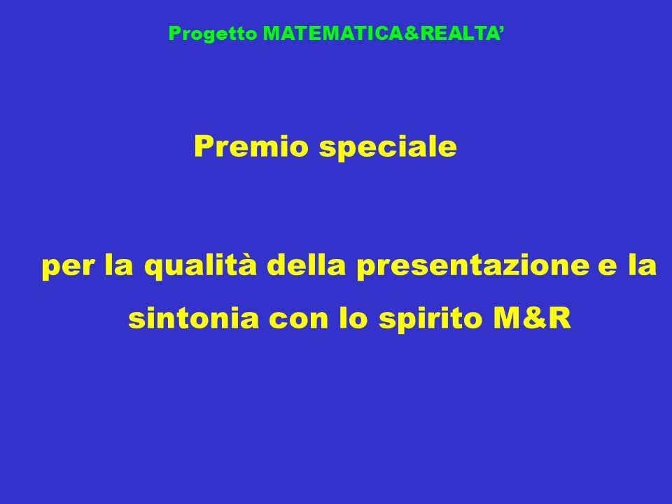Progetto MATEMATICA&REALTA Premio speciale per la qualità della presentazione e la sintonia con lo spirito M&R