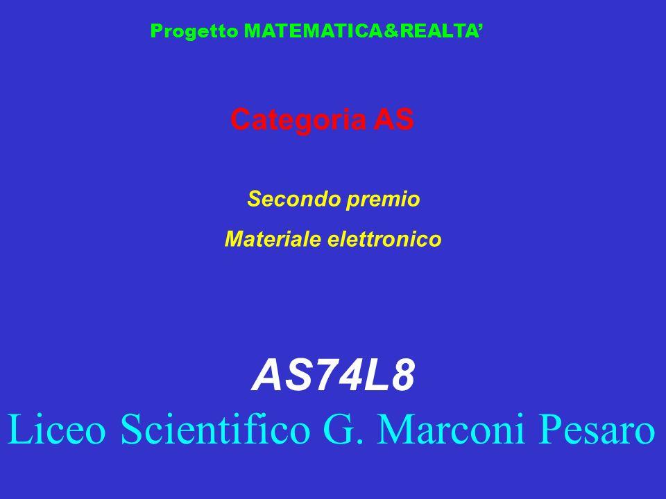 Progetto MATEMATICA&REALTA Categoria AS Secondo premio Materiale elettronico AS74L8 Liceo Scientifico G. Marconi Pesaro
