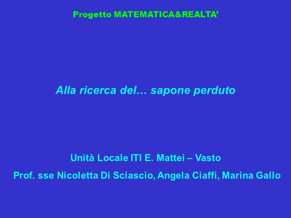 Progetto MATEMATICA&REALTA Alla ricerca del… sapone perduto Unità Locale ITI E. Mattei – Vasto Prof. sse Nicoletta Di Sciascio, Angela Ciaffi, Marina