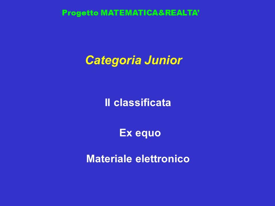 Progetto MATEMATICA&REALTA II classificata Categoria Junior Materiale elettronico Ex equo