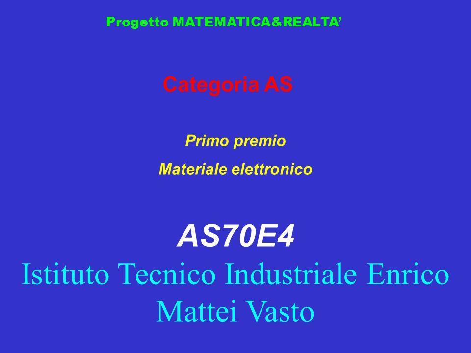 Progetto MATEMATICA&REALTA Categoria AS Primo premio Materiale elettronico AS70E4 Istituto Tecnico Industriale Enrico Mattei Vasto