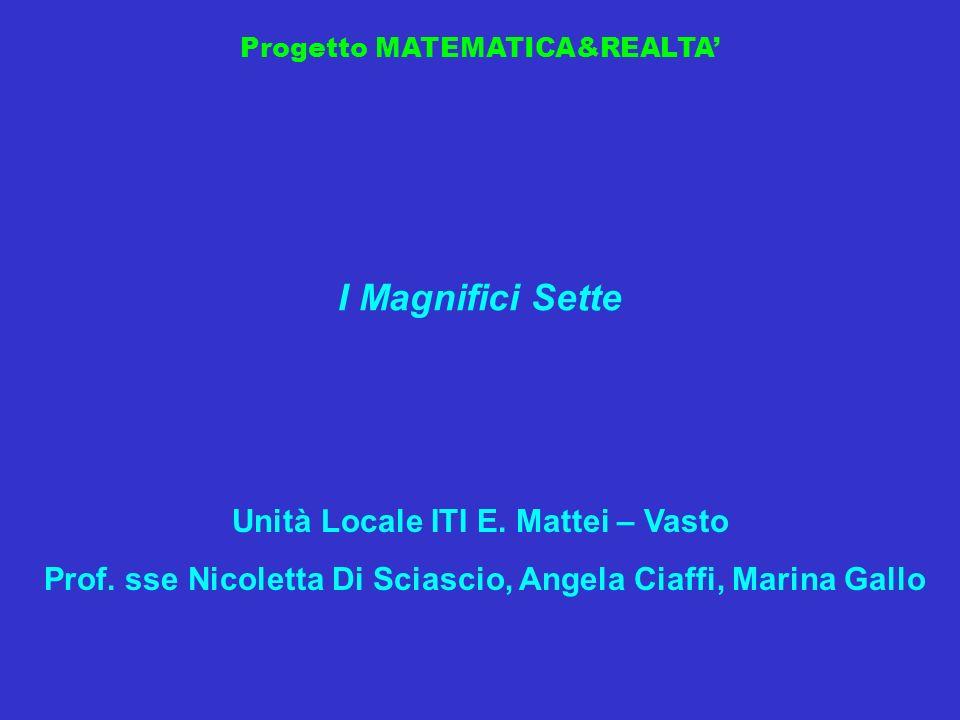 Progetto MATEMATICA&REALTA I Magnifici Sette Unità Locale ITI E. Mattei – Vasto Prof. sse Nicoletta Di Sciascio, Angela Ciaffi, Marina Gallo