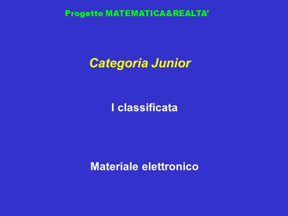 Progetto MATEMATICA&REALTA I classificata Categoria Junior Materiale elettronico