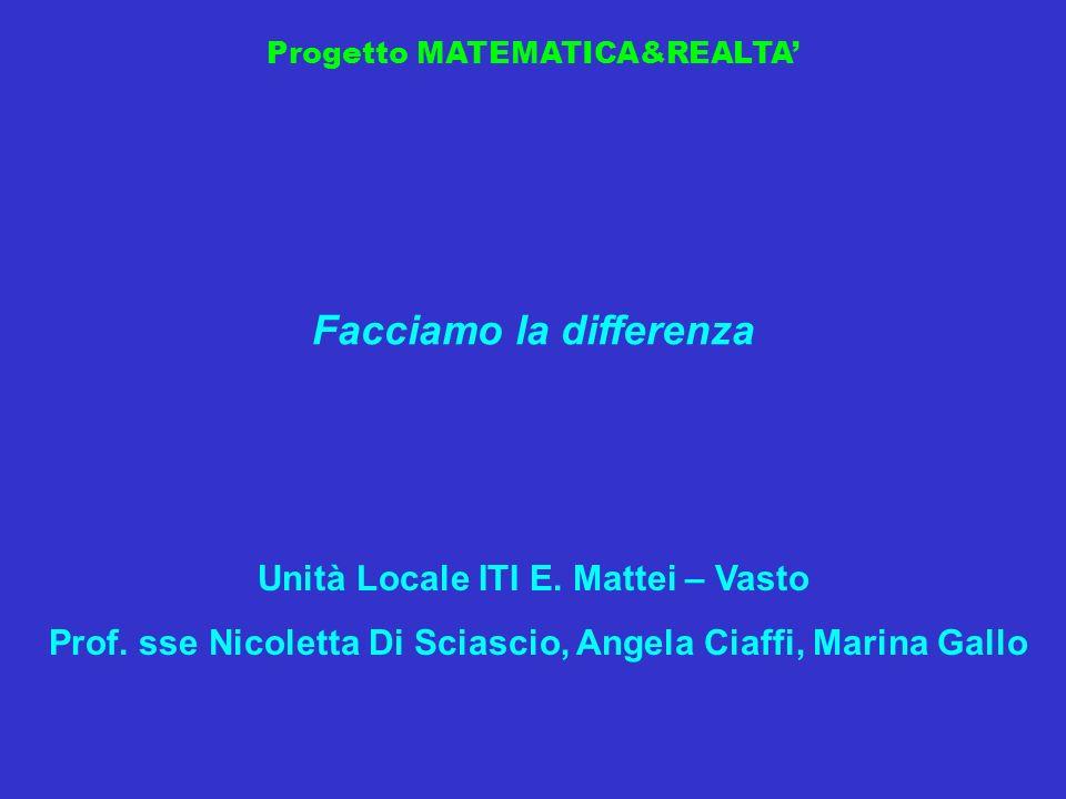 Progetto MATEMATICA&REALTA Facciamo la differenza Unità Locale ITI E. Mattei – Vasto Prof. sse Nicoletta Di Sciascio, Angela Ciaffi, Marina Gallo