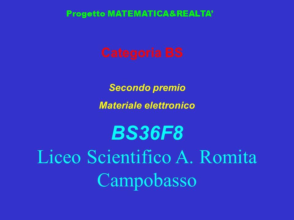Progetto MATEMATICA&REALTA Categoria BS Secondo premio Materiale elettronico BS36F8 Liceo Scientifico A. Romita Campobasso