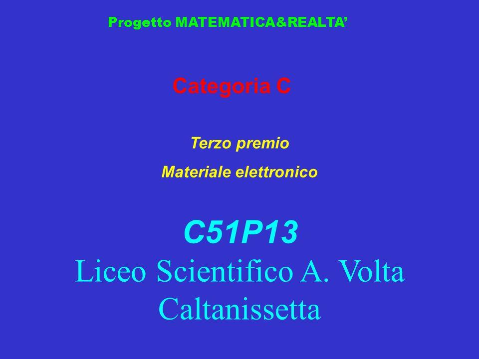 Progetto MATEMATICA&REALTA Categoria C Terzo premio Materiale elettronico C51P13 Liceo Scientifico A. Volta Caltanissetta