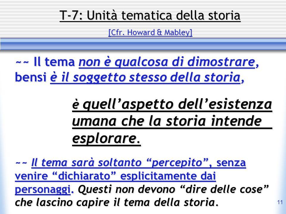 11 T-7: Unità tematica della storia [Cfr. Howard & Mabley] ~~ Il tema non è qualcosa di dimostrare, bensi è il soggetto stesso della storia, è quellas
